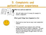 5 complaints and patient carer experience