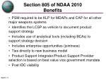 section 805 of ndaa 2010 benefits