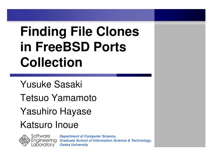 finding file clones in freebsd ports collection n.
