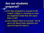 are our students prepared
