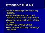 attendance o m1