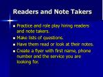 readers and note takers