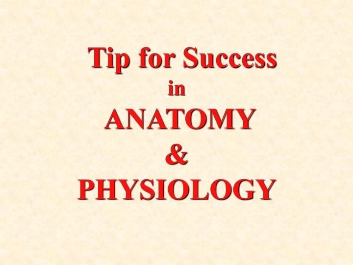 tip for success in anatomy physiology n.