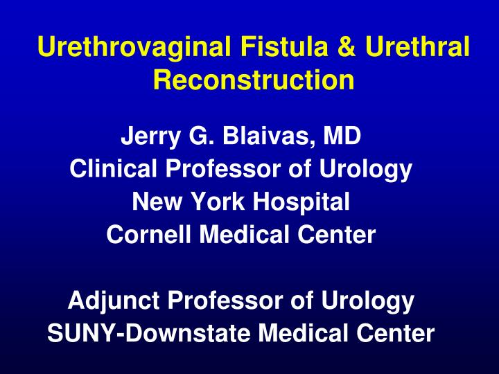 urethrovaginal fistula urethral reconstruction n.