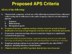 proposed aps criteria