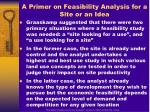 a primer on feasibility analysis for a site or an idea
