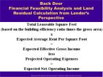 back door financial feasibility analysis and land residual calculation from lender s perspective