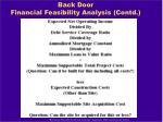 back door financial feasibility analysis contd