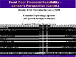 front door financial feasibility lender s perspective contd