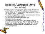 reading language arts ms serfoss