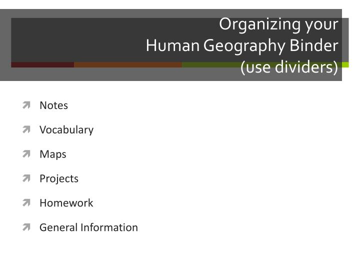 organizing your human geography binder use dividers n.
