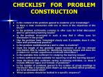 checklist for problem construction