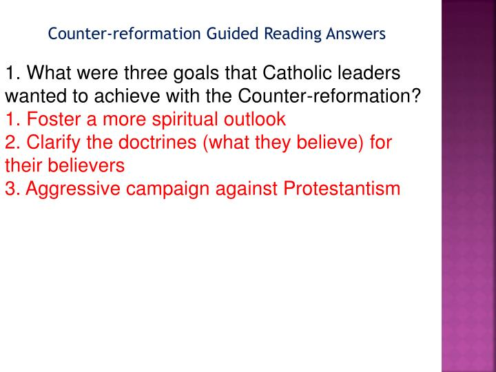 Counter-reformation Guided Reading Answers