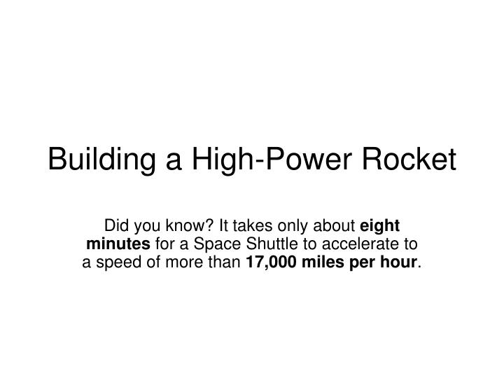 building a high power rocket n.