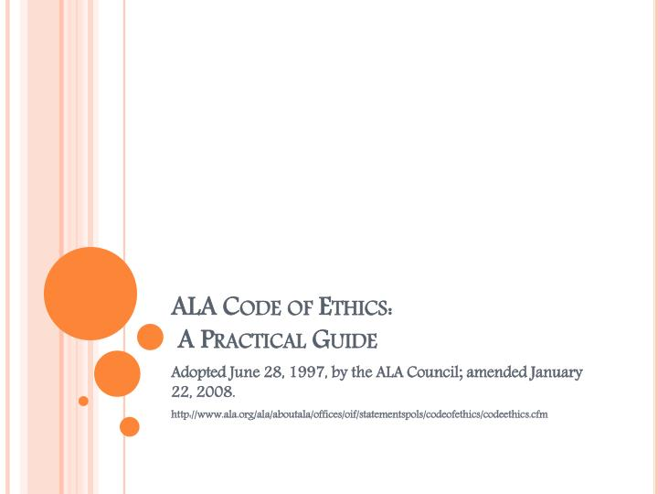ala code of ethics a practical guide n.