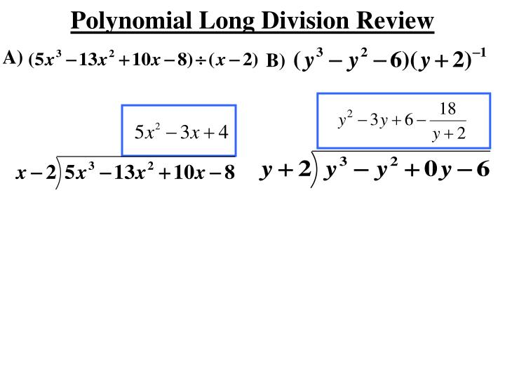 polynomial long division review n.