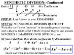 synthetic division continued