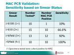 mac pcr validation sensitivity based on smear status