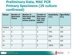 preliminary data mac pcr primary specimens 25 culture confirmed
