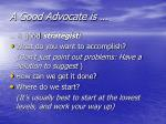 a good advocate is
