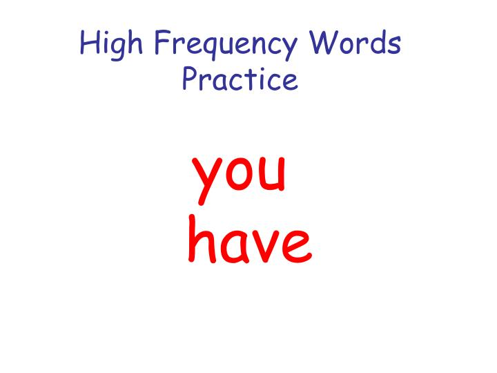 high frequency words practice n.