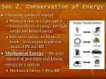 sec 2 conservation of energy