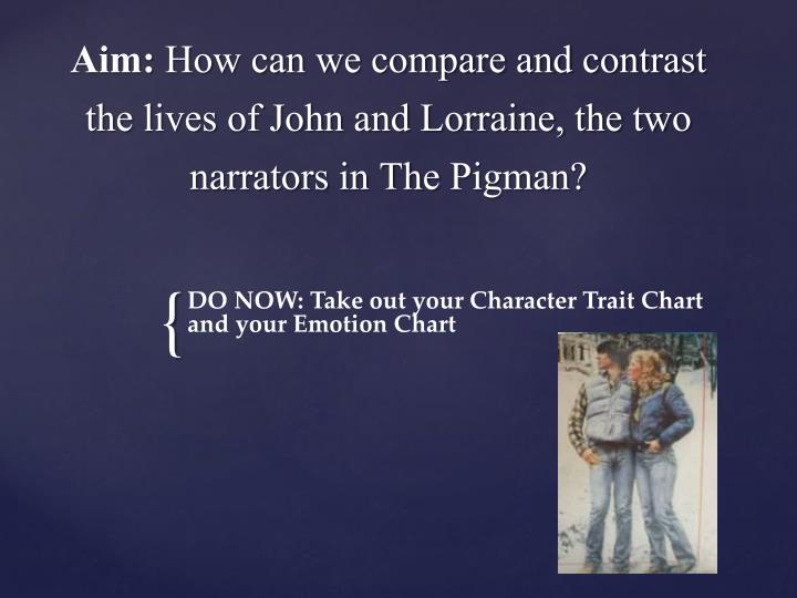aim how can we compare and contrast the lives of john and lorraine the two narrators in the pigman n.