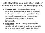 tests of whether reasonable effort has been made to maximize decision making capability