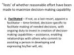 tests of whether reasonable effort have been made to maximize decision making capability
