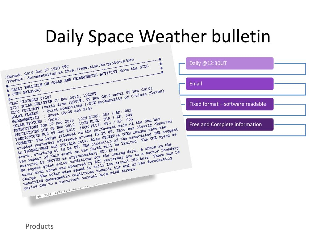 PPT - Space Weather Data and Services at RWC Belgium