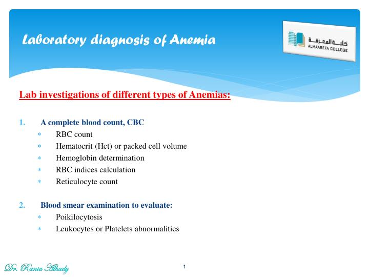 laboratory diagnosis of anemia n.