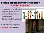single replacement reaction a bc b ac