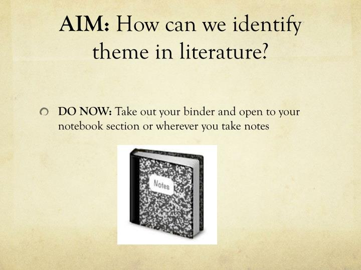 aim how can we identify theme in literature n.