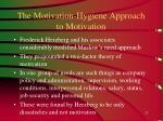 the motivation hygiene approach to motivation