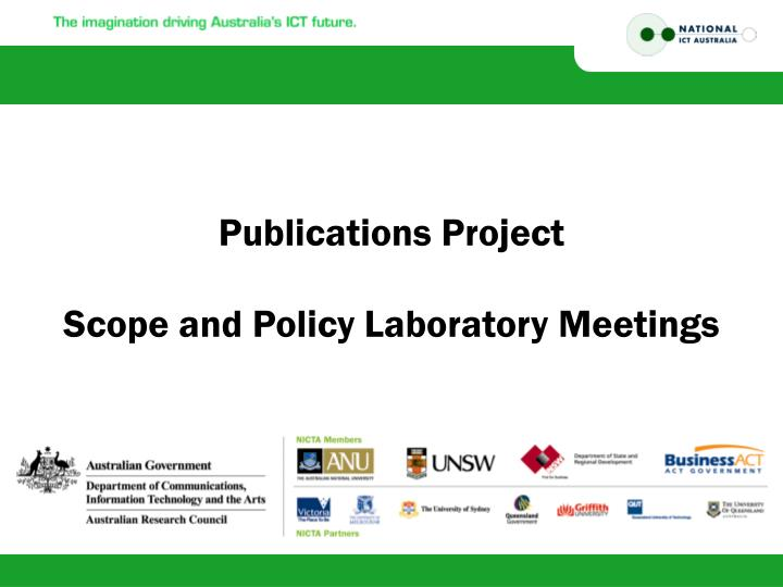 publications project scope and policy laboratory meetings n.