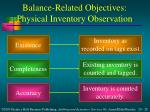 balance related objectives physical inventory observation