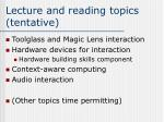 lecture and reading topics tentative1