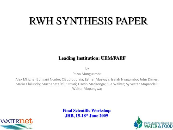 rwh synthesis paper n.