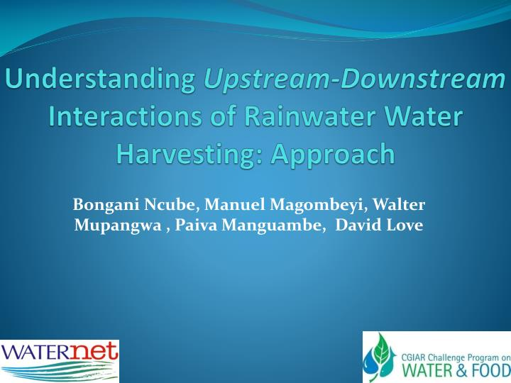 understanding upstream downstream interactions of rainwater water harvesting approach n.