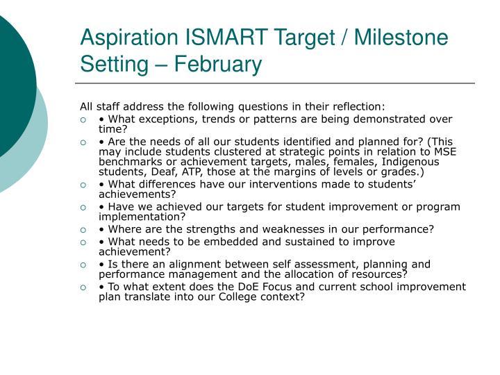 Aspiration ISMART Target / Milestone  Setting – February