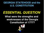 georgia statehood and the u s constitution