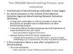 the ons abs benchmarking process post evaluation
