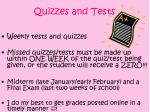 quizzes and tests