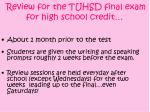 review for the tuhsd final exam for high school credit
