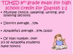 tuhsd 8 th grade exam for high school credit for spanish 1 2