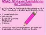wrac writing and reading across the curriculum