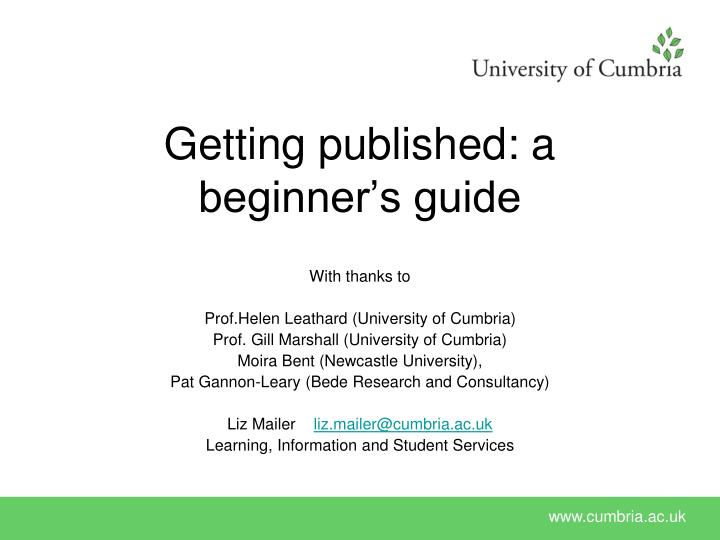 getting published a beginner s guide n.