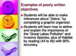 examples of poorly written objectives