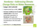 honduras addressing climate change risks on water resources