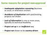 some reasons for project non approval